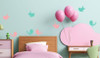 Set of 8 Bird Wall Decals in 2 Colors, 5-Inch size, Modern Girls Room Decor-Carnation, Mint