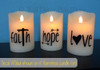 Faith Hope Love Vinyl Stickers Lettering design for LED Candles - shown in color black in ON position