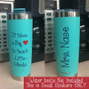 Glossy Vinyl Decal Stickers for Teacher, Customized with Name, Shown on Coffee Mug