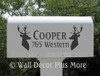 Set of 2 Mailbox Vinyl Decal Stickers Name Address Letters with Deer Mounts Silhouette