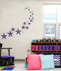 Variety Star Wall Stickers Vinyl Decals Shapes in Plum shown with 3 inch polka dots in Bayou Blue