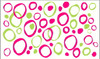 Funky Circles Vinyl Wall Stickers Shapes Lime Hot Pink