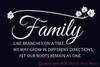 Family Branches with leaves Wall Words Vinyl Decal Stickers White on Black Wall