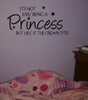Its Not Easy Being a Princess Crown Fits Girls Wall Sticker Decals Saying- Black