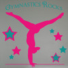 Balancing Gymnast Silhouette and Stars with Gymnastics Rocks  Girls Wall Stickers Decals