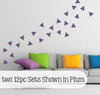 Triangle Wall Decal Stickers Shapes - Plum two 12pc sets shown - Peel n Stick