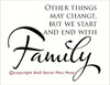 ..We Start and End with Family Wall Decals Vinyl Stickers Quotes Popular Wall Letters