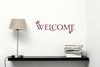 Welcome with Leaves Vinyl Wall Decal for Entryway Decor Small-Red