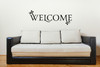 Welcome with Leaves Vinyl Wall Decal for Entryway Decor Large-Black