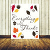 Simple Classic Thanksgiving Wall Decal Quote Kitchen Dining Wall Décor with Leaves and Acorns