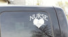 Nurse with Heart Decal Sticker Art-White