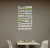 Spices Subway Art Wall Decal Sticker for Kitchen Decor
