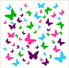 Butterfly Wall Decals for Girls Room, Vinyl Stickers to Decorate with LimeG Pink IceBlue Plum