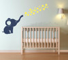Elephant Wall Decal with Floating Bubbles, Cool Nursery Room Decor-Deep Blue, Light Yellow