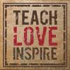 Teach Love Inspire Teacher Tile Design School Wall Decals on a tile