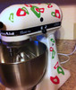 Tiny Leopard Print Rings and Dots, Glossy Vinyl Stickers Decals Hot Pink & Lime Green on Kitchen Mixer