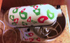 Tiny Leopard Print Rings Dots, Glossy Vinyl Stickers Decals Hot Pink & Lime Green on Kitchen Stand Mixer Appliance