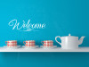 Welcome Sticker for Front Door Modern Wall Art Decals White