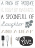 Pinch Patience Heap of Love Kitchen Canvas Print Wall Art Option 3