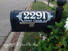 Mailbox Address Decal Stickers White on a Black Mailbox