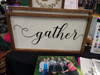 Gather Handwritten Font Vinyl Lettering Fall Wall Decal Stickers on frame-Black