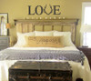 Love with Deer Antlers Wall Decals Vinyl Letters Farmhouse Rustic Hunting Wedding-Black