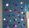 Chocolate Brown, White, Red, Traffic Blue Mud Paint Splatter Vinyl Wall Stickers Shapes for Daycare, Classroom, Kids Room