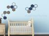 Honeycomb Hexagon Wall Sticker Shapes 2-Color Vinyl Decals Decor Art-Castle Gray, Deep Blue