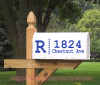 Monogram with Dots Personalized Mailbox Stickers Vinyl Address Decals-Brilliant Blue