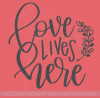 Love Lives Here with Leaf Art Vinyl Letters Decals Wall Sticker Quote