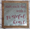 Metal on Wood Sign Start Each Day Quote, Hanging Wall Art-Burgundy