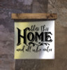 Metal Sign Wood Topper Bless This Home Vinyl Sticker Quote Wall Art-Black