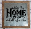 Metal on Wood Sign Bless This Home Vinyl Sticker Quote Wall Art-Black
