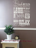 Beach Rules Subway Art Wall Decal Quote Phrase Saying Vinyl Decal White
