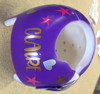 Cranial Helmet Band Decal Sticker Accessories Girls Name with Hearts and Stars 2 Colors: Metallic Copper, Metallic Silver, Hot Pink