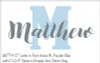 "Wall Name in Bruselo font in Storm Gray shown with WD774 12"" letter M in font choice #1 in Powder Blue"