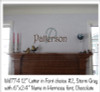 "Wall Name in Hermosa font in Chocolate Brown shown with WD774 12"" letter P in font choice #2 in Storm Gray"