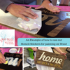 Example of using a stencil sticker to paint a board