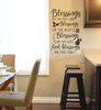 Kitchen Wall Decal Quote Blessing on Root Leaf Fruit Decor Sticker Verse WD1693 CHBrown