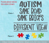 Autism Wall Quote Sticker Same Road Bricks Different View Puzzle Art Decal