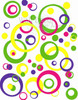 Wall Sticker Circles Rings Dot in Yellow, Hot Pink, Lime Green, and Purple