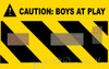SMALL version of Caution Boys at Play Vinyl Decal Sticker