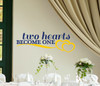 Two Hearts Become One Wedding Wall Decal Vinyl Sticker Deep and Yellow