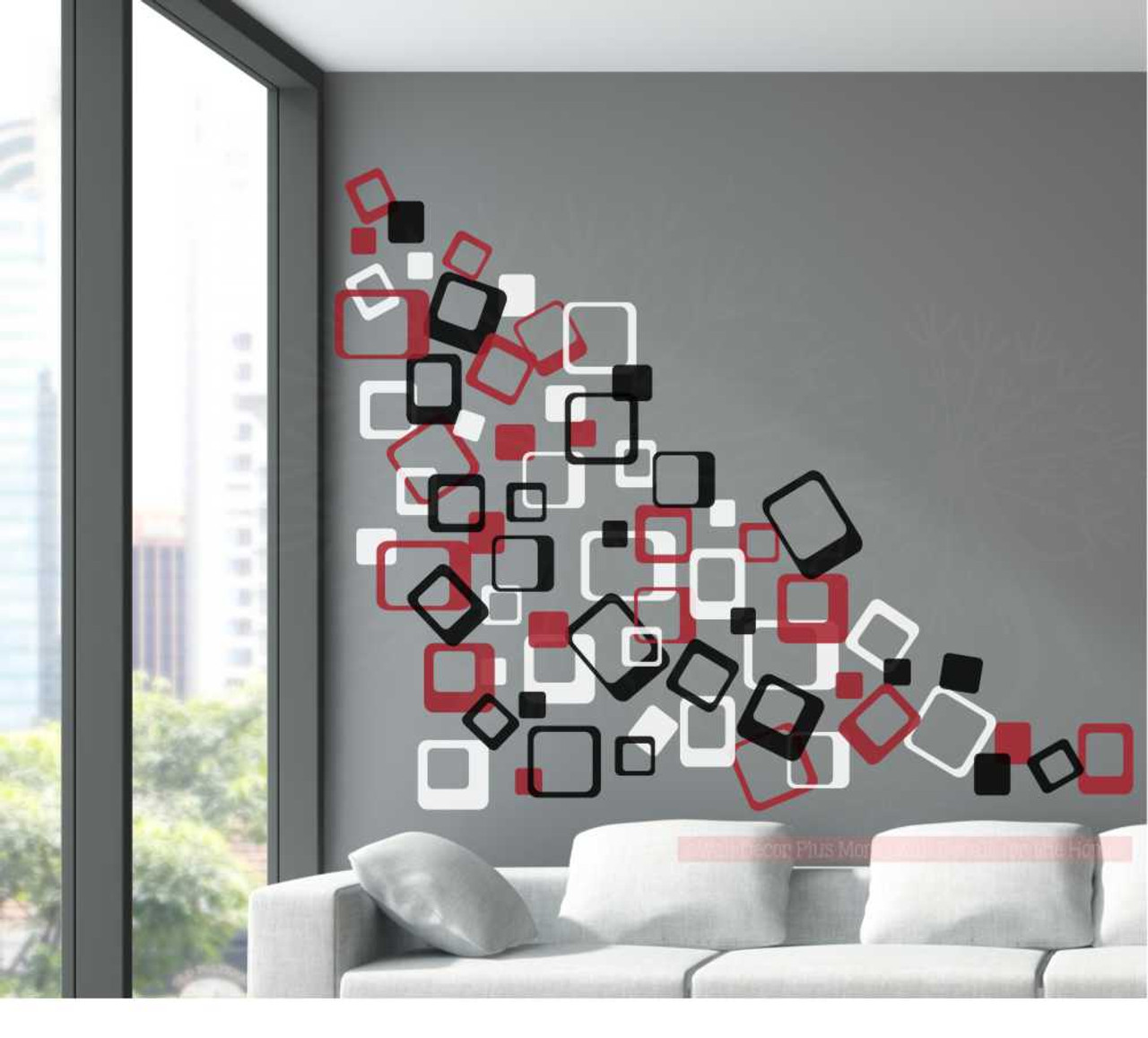 3 Color Funky Square Wall Vinyl Stickers Shapes   Red Black White