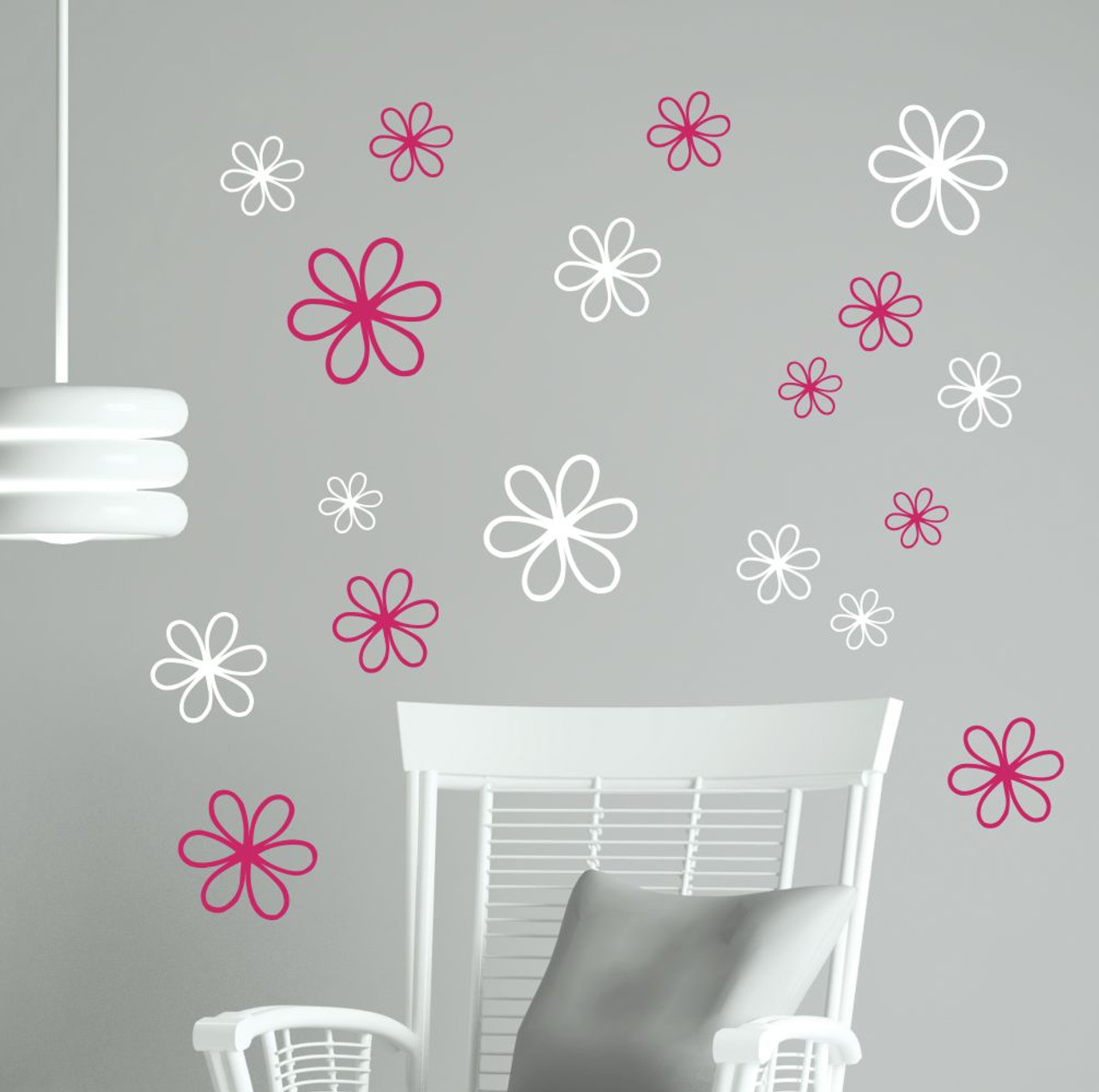 2color Hot Pink And White Daisy Floral Wall Decal Package Arranged On  Living Room Wall