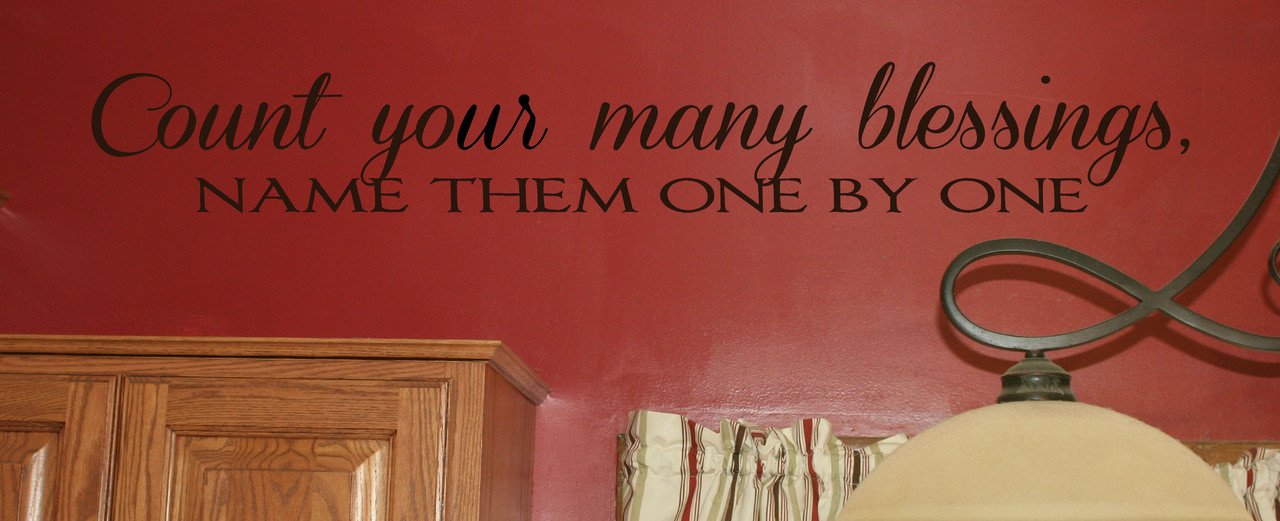 Count Your Many Blessings Vinyl Wall Sticker Decals Wall Letters Quotes 48x6 5 Inch