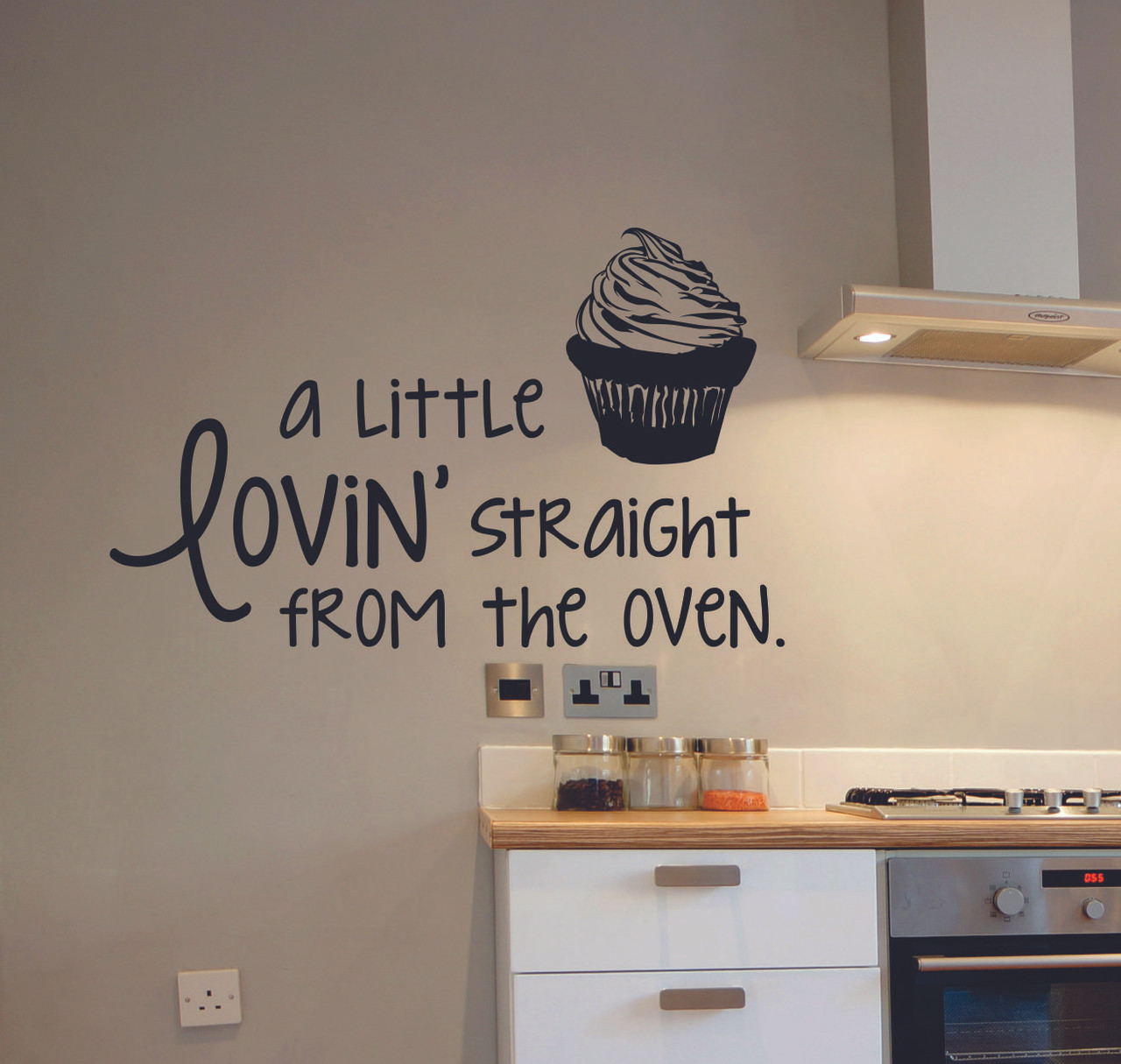 Kitchen Quote Wall Decals - A Little Lovinu0027 Straight From the Oven with  Cupcake Art