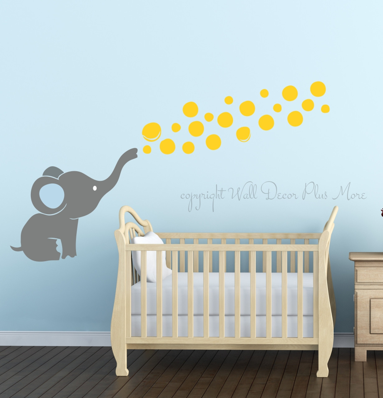 11 Cool Baby Nursery Design Ideas From Vertbaudet: Elephant Wall Decal With Floating Bubbles, Cool Nursery