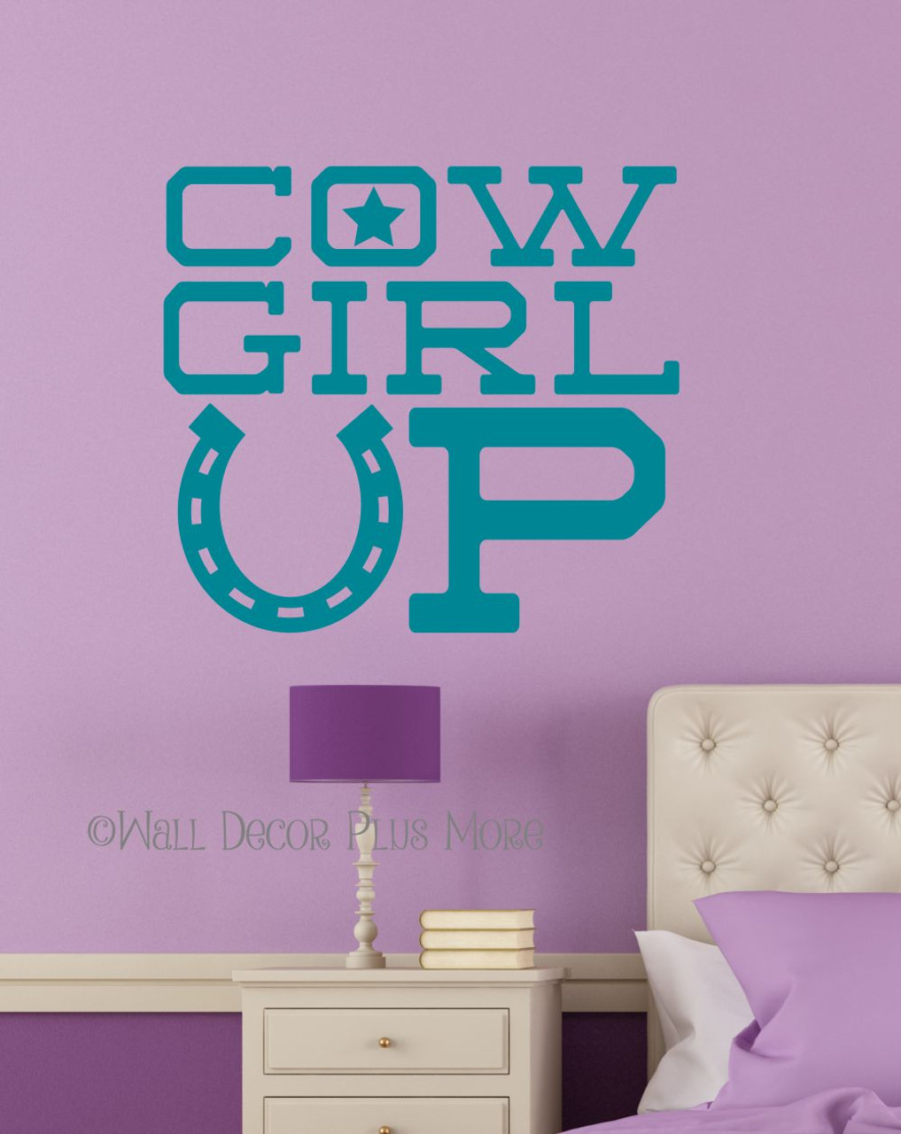Cowgirl Up Western Wall Decals Vinyl Stickers Lettering for Girls Room