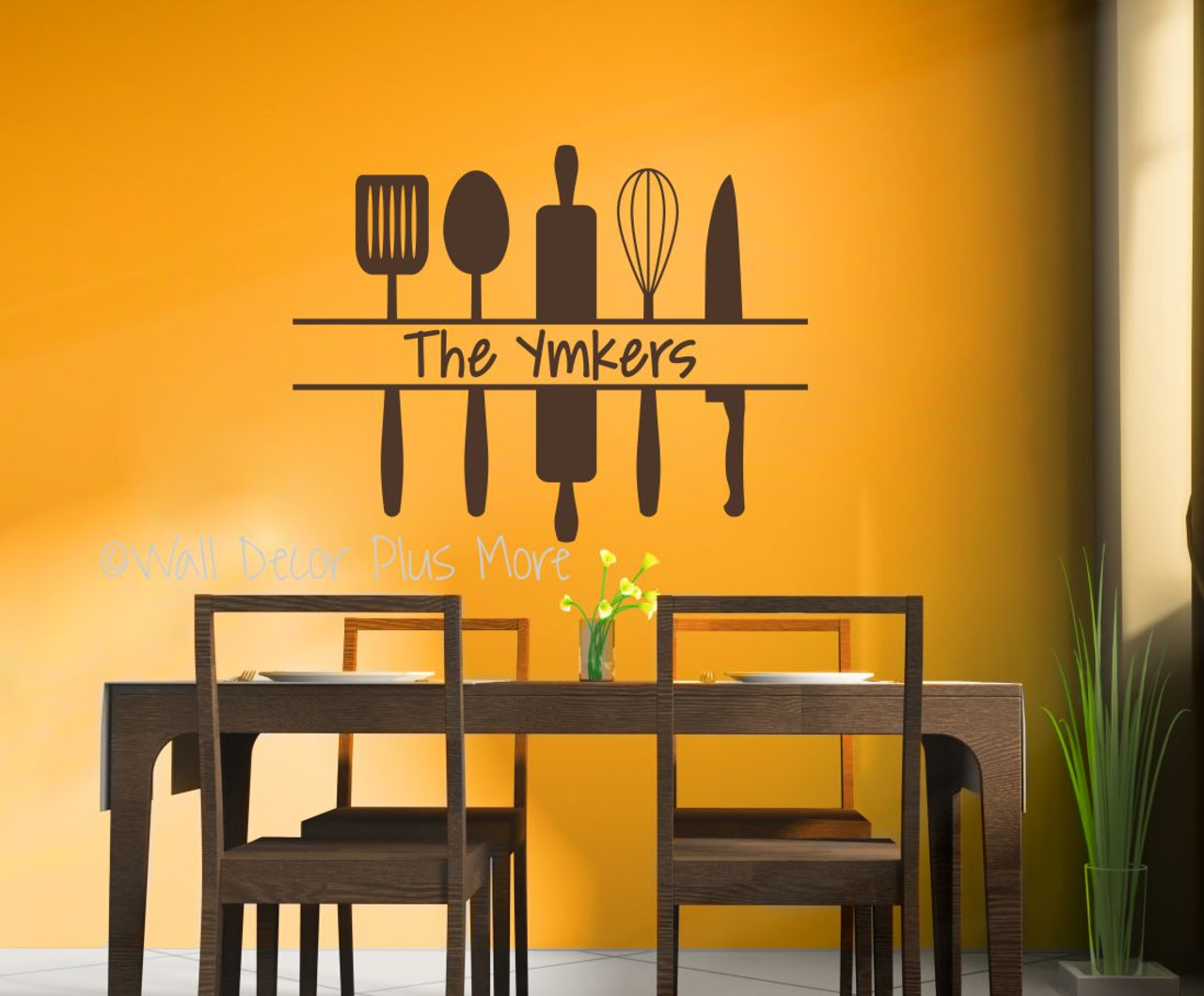 Personalized Kitchen Wall Art Custom Name With Utensils Wall Decal Sticker